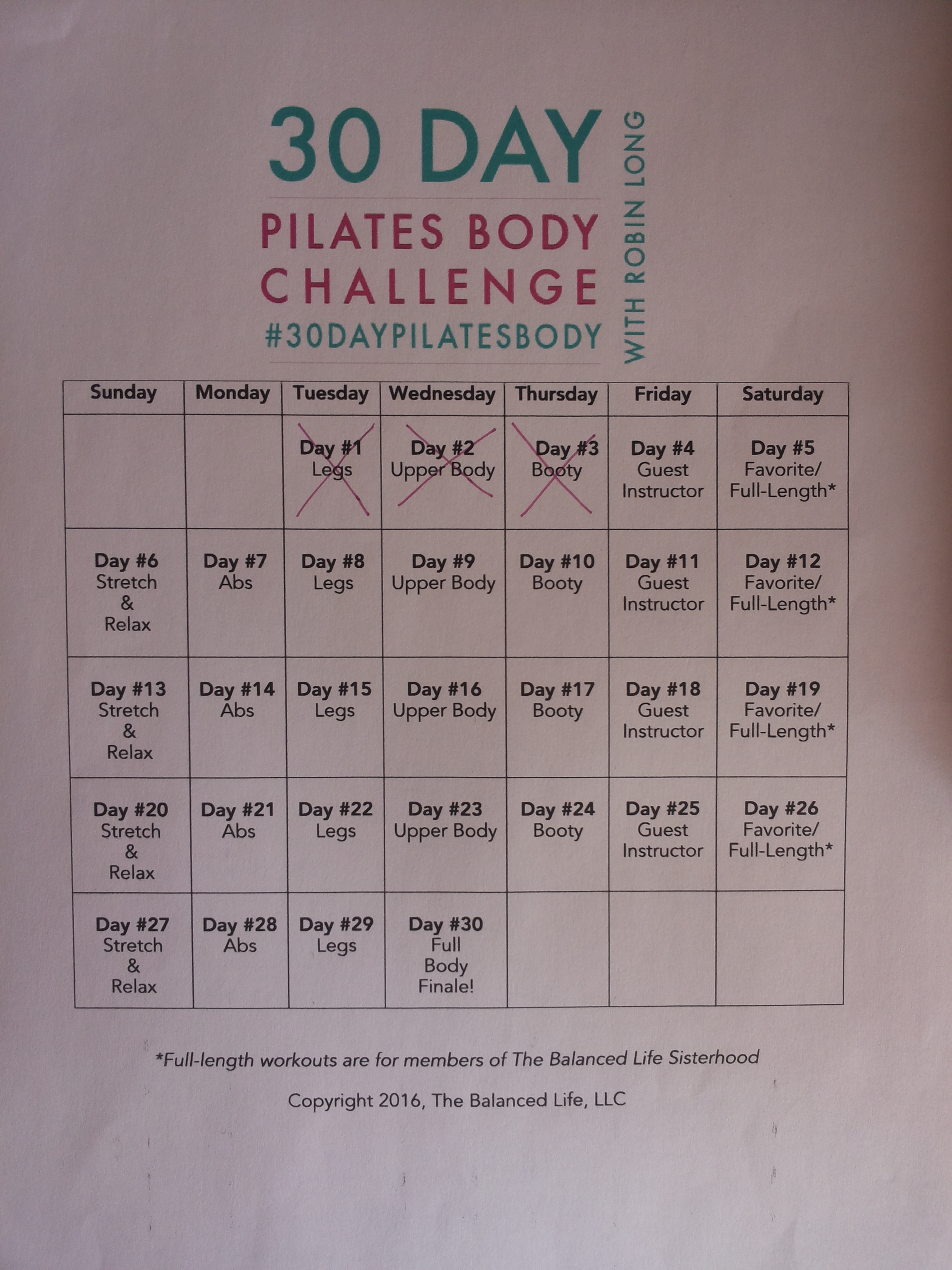 30 days pilates body challenge